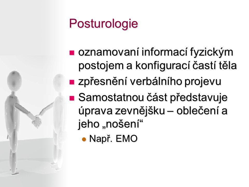 Posturologie oznamovaní informací fyzickým postojem a konfigurací častí těla. zpřesnění verbálního projevu.