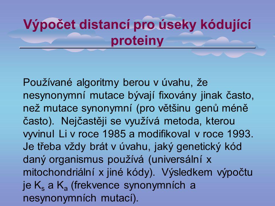 Výpočet distancí pro úseky kódující proteiny