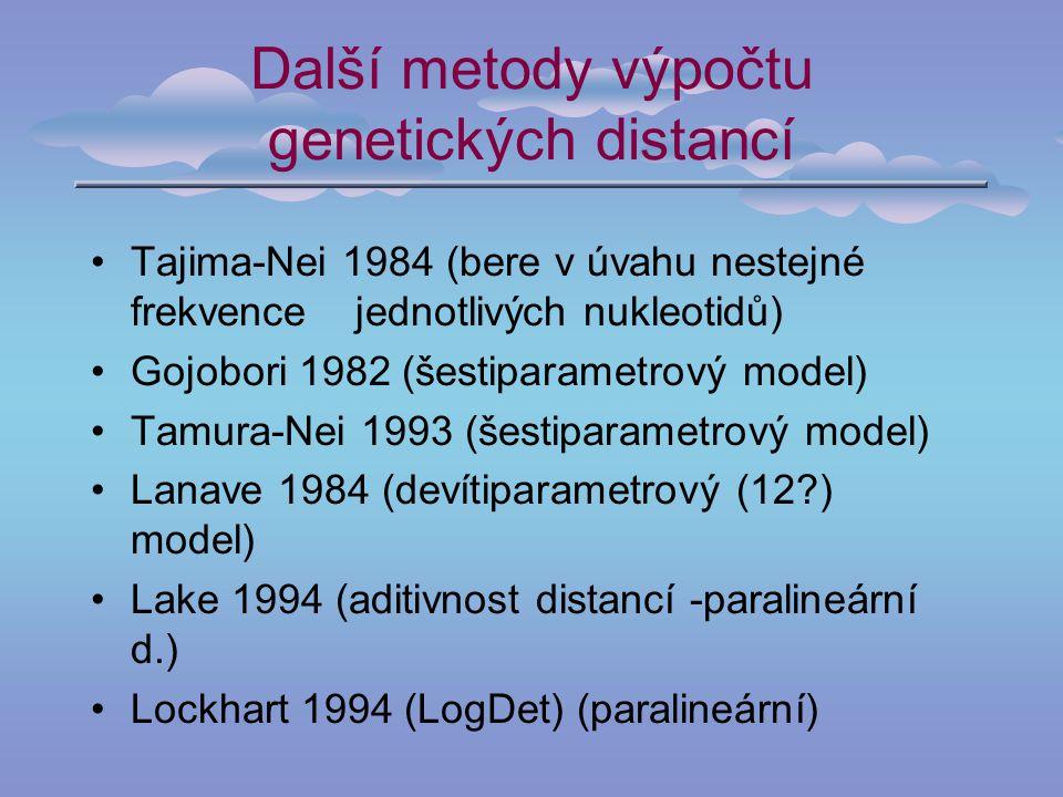 Další metody výpočtu genetických distancí