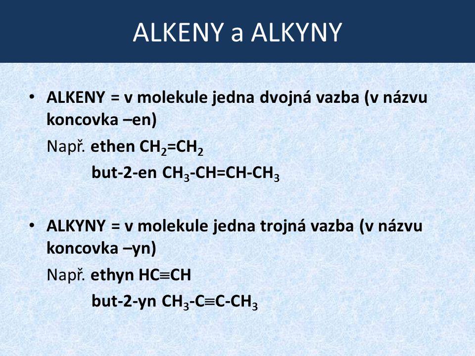 ALKENY a ALKYNY ALKENY = v molekule jedna dvojná vazba (v názvu koncovka –en) Např. ethen CH2=CH2.