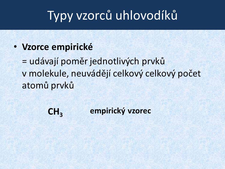 Typy vzorců uhlovodíků