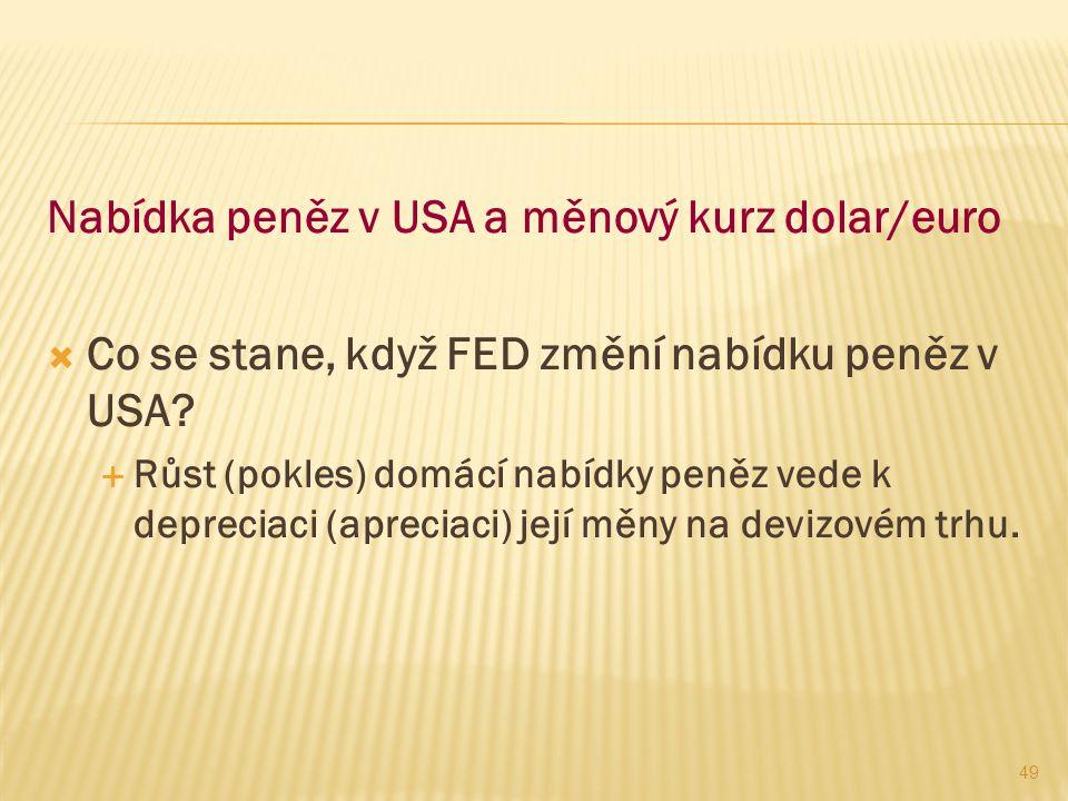 Nabídka peněz v USA a měnový kurz dolar/euro