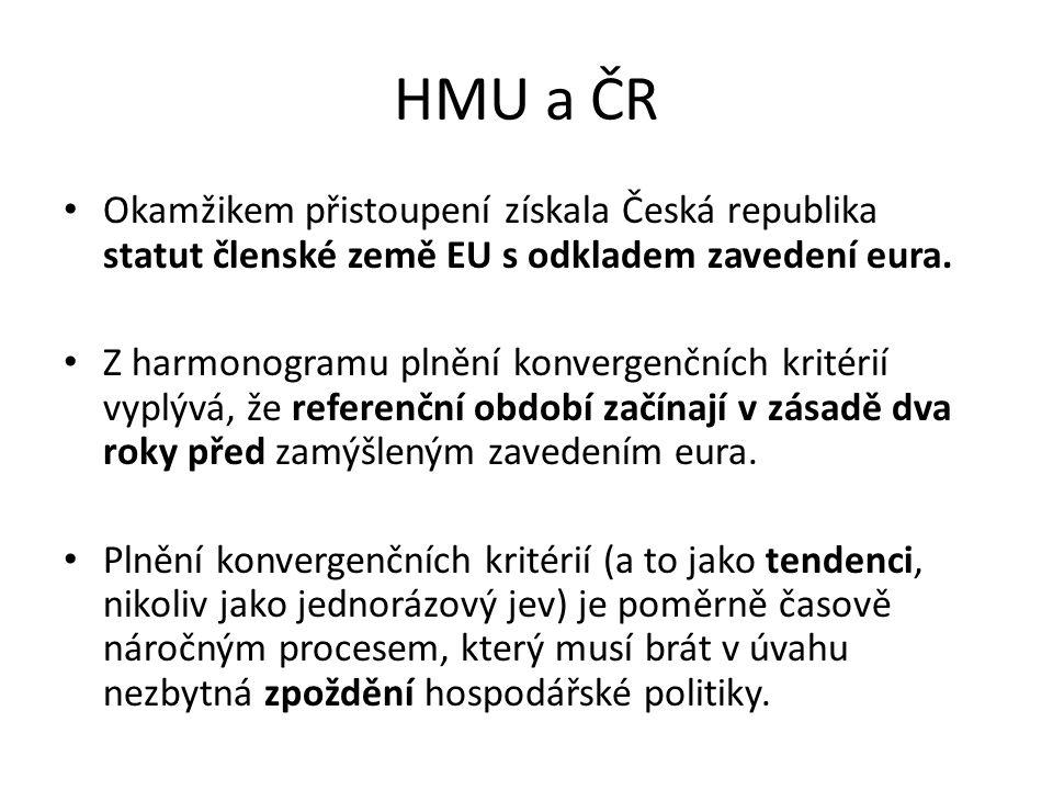 HMU a ČR Okamžikem přistoupení získala Česká republika statut členské země EU s odkladem zavedení eura.