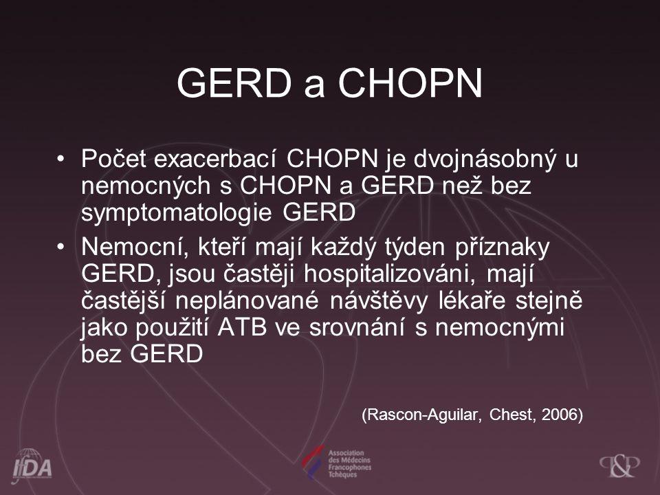 GERD a CHOPN Počet exacerbací CHOPN je dvojnásobný u nemocných s CHOPN a GERD než bez symptomatologie GERD.