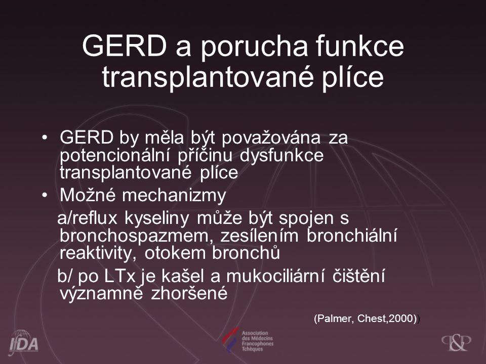 GERD a porucha funkce transplantované plíce