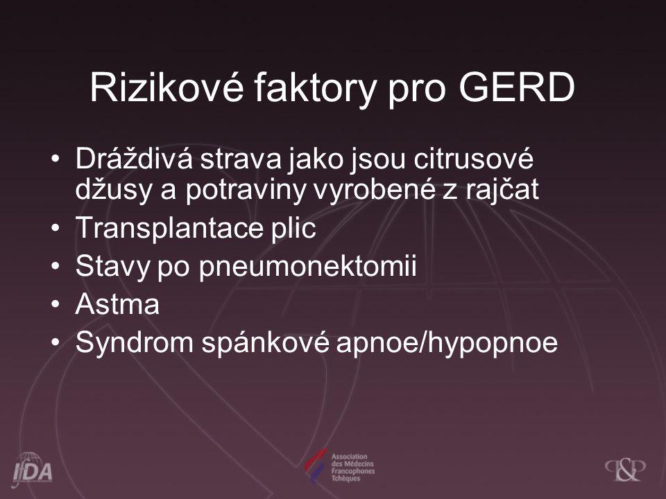 Rizikové faktory pro GERD
