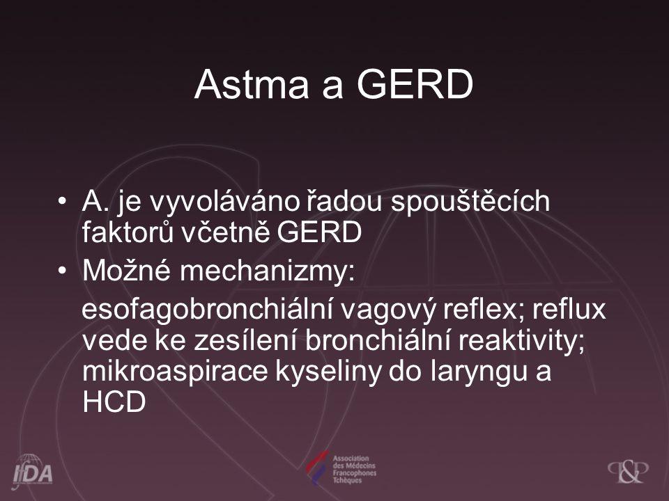 Astma a GERD A. je vyvoláváno řadou spouštěcích faktorů včetně GERD