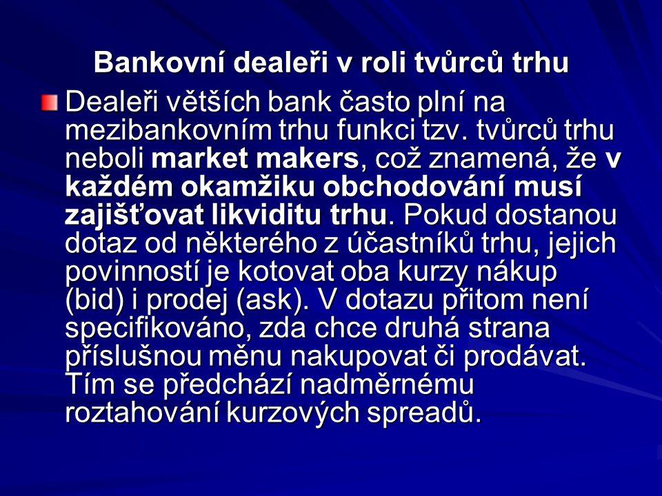 Bankovní dealeři v roli tvůrců trhu