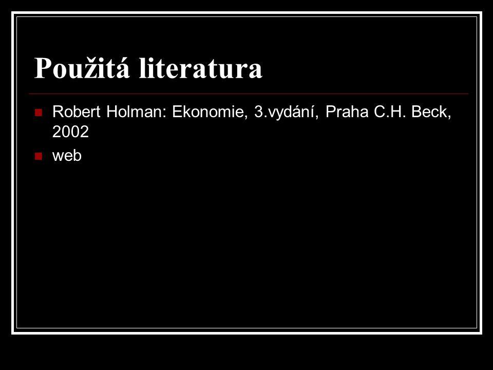 Použitá literatura Robert Holman: Ekonomie, 3.vydání, Praha C.H. Beck, 2002 web