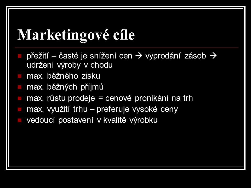 Marketingové cíle přežití – časté je snížení cen  vyprodání zásob  udržení výroby v chodu. max. běžného zisku.