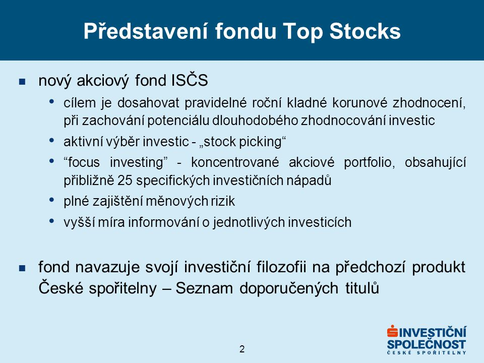 Představení fondu Top Stocks