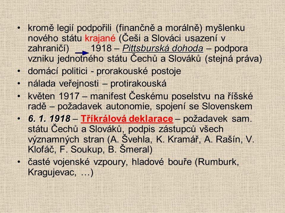 kromě legií podpořili (finančně a morálně) myšlenku nového státu krajané (Češi a Slováci usazení v zahraničí) 1918 – Pittsburská dohoda – podpora vzniku jednotného státu Čechů a Slováků (stejná práva)