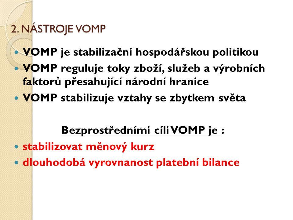 Bezprostředními cíli VOMP je :