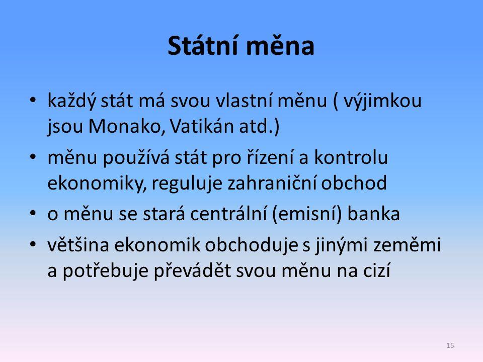Státní měna každý stát má svou vlastní měnu ( výjimkou jsou Monako, Vatikán atd.)