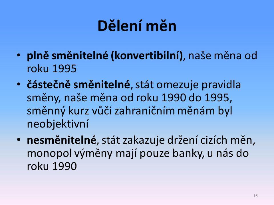 Dělení měn plně směnitelné (konvertibilní), naše měna od roku 1995