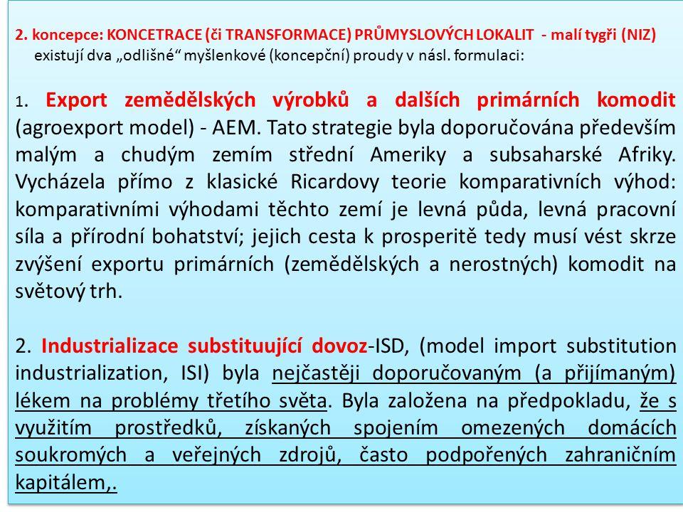 2. koncepce: KONCETRACE (či TRANSFORMACE) PRŮMYSLOVÝCH LOKALIT - malí tygři (NIZ)