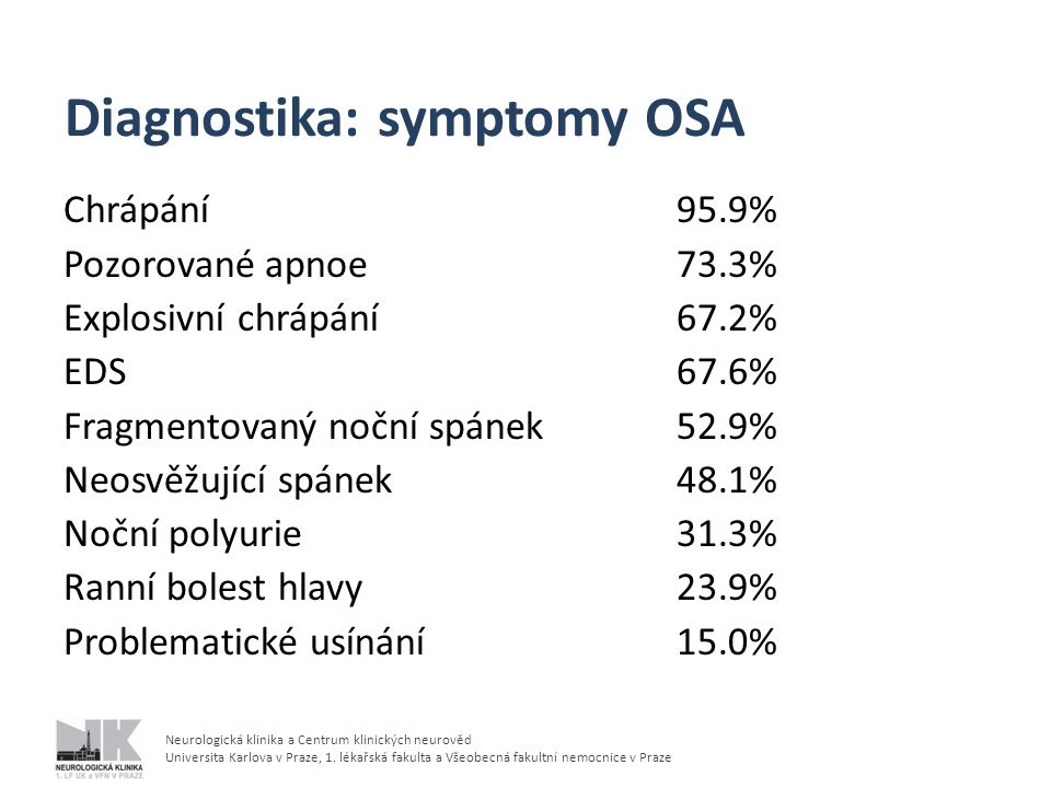Diagnostika: symptomy OSA