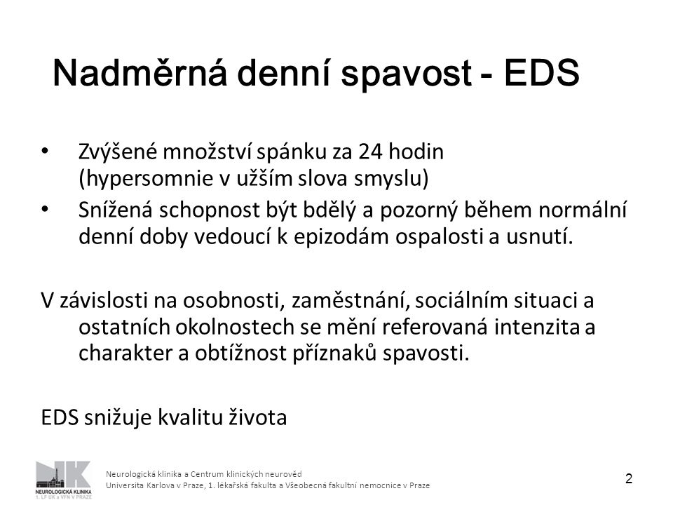 Nadměrná denní spavost - EDS