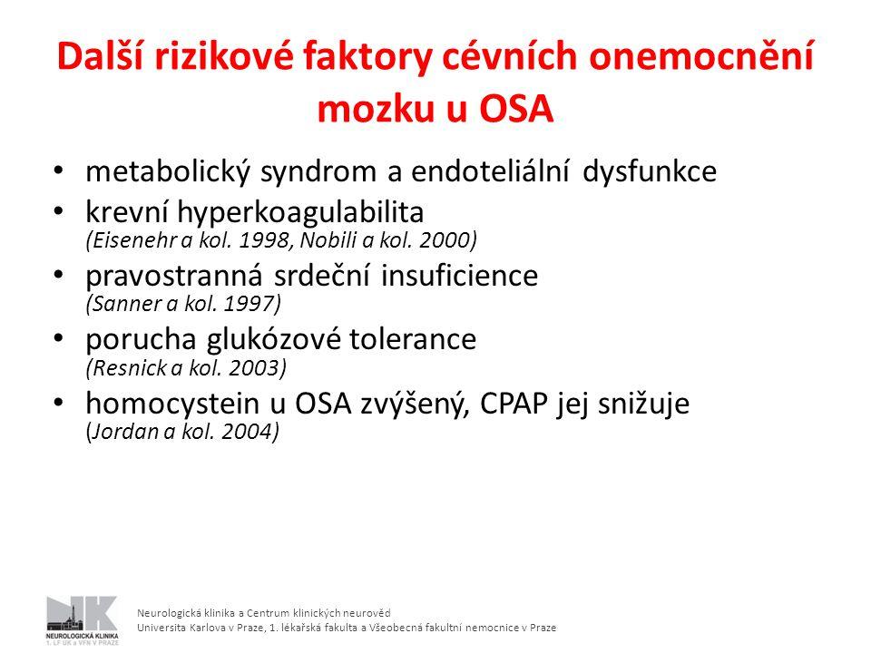 Další rizikové faktory cévních onemocnění mozku u OSA