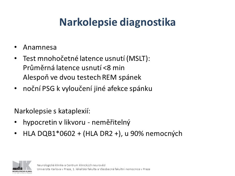 Narkolepsie diagnostika