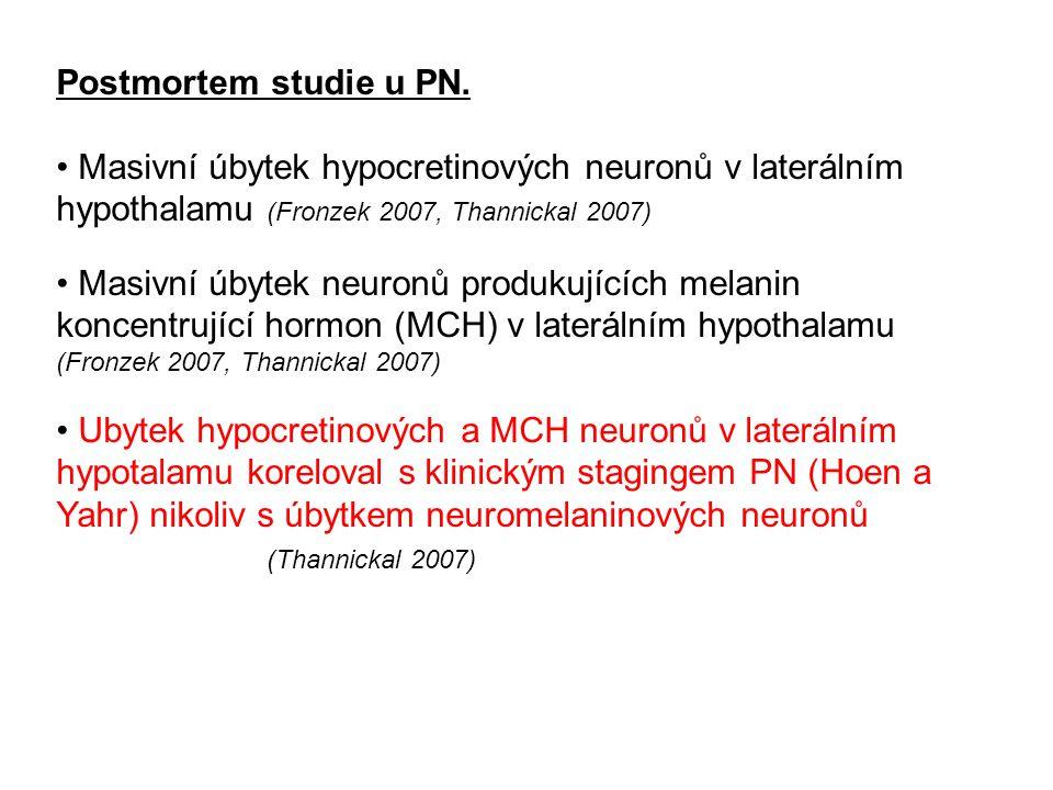 Postmortem studie u PN. Masivní úbytek hypocretinových neuronů v laterálním hypothalamu (Fronzek 2007, Thannickal 2007)