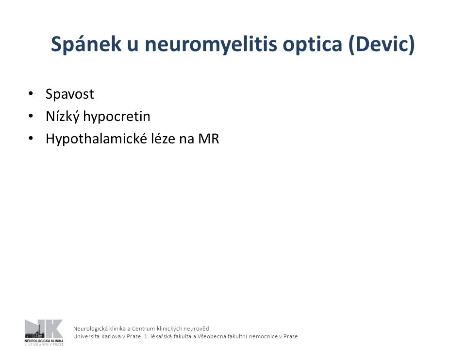 Spánek u neuromyelitis optica (Devic)