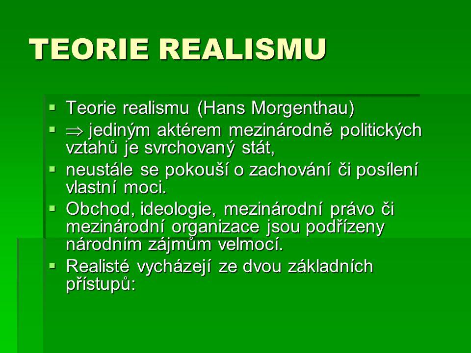 TEORIE REALISMU Teorie realismu (Hans Morgenthau)
