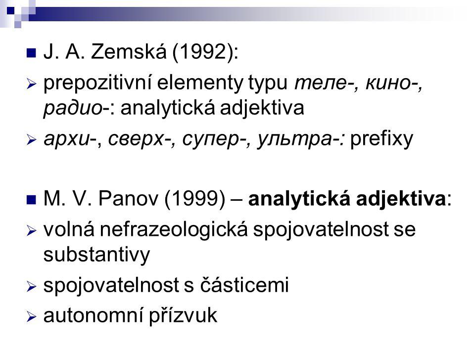 J. A. Zemská (1992): prepozitivní elementy typu теле-, кино-, радио-: analytická adjektiva. архи-, сверх-, супер-, ультра-: prefixy.