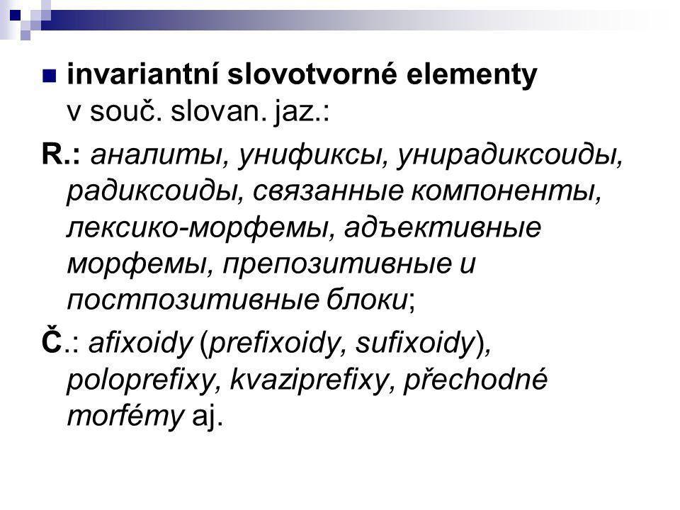 invariantní slovotvorné elementy v souč. slovan. jaz.: