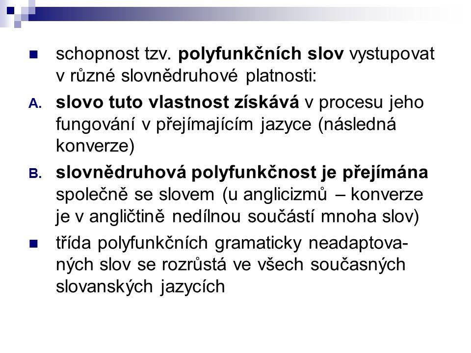 schopnost tzv. polyfunkčních slov vystupovat v různé slovnědruhové platnosti: