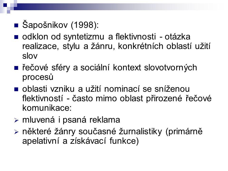 Šapošnikov (1998): odklon od syntetizmu a flektivnosti - otázka realizace, stylu a žánru, konkrétních oblastí užití slov.