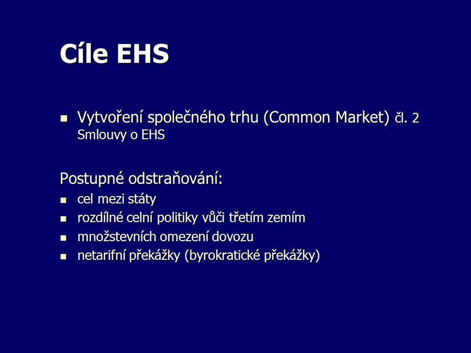 Cíle EHS Vytvoření společného trhu (Common Market) čl. 2 Smlouvy o EHS