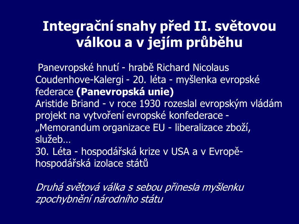 Integrační snahy před II. světovou válkou a v jejím průběhu