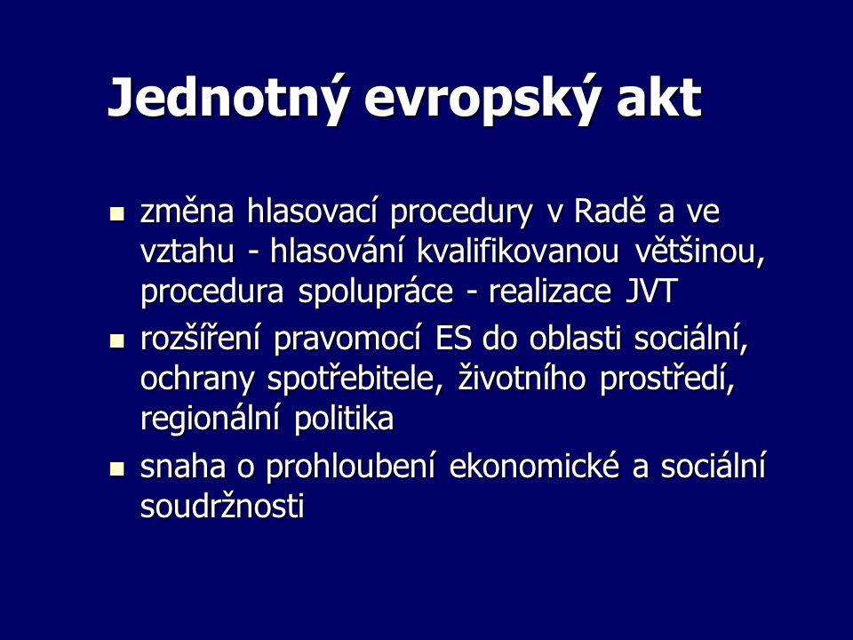 Jednotný evropský akt změna hlasovací procedury v Radě a ve vztahu - hlasování kvalifikovanou většinou, procedura spolupráce - realizace JVT.