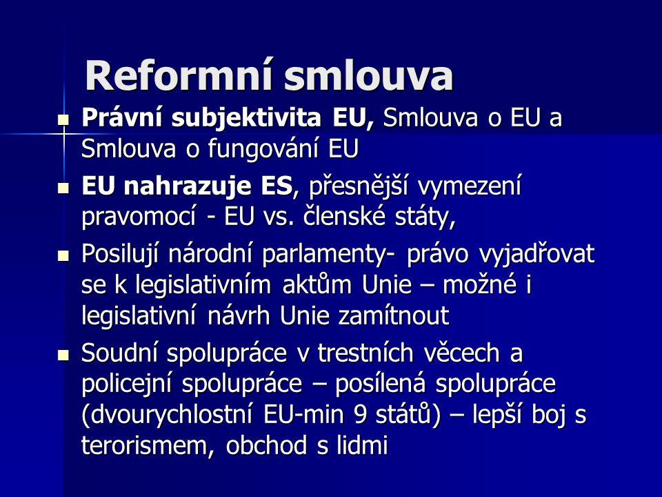 Reformní smlouva Právní subjektivita EU, Smlouva o EU a Smlouva o fungování EU.