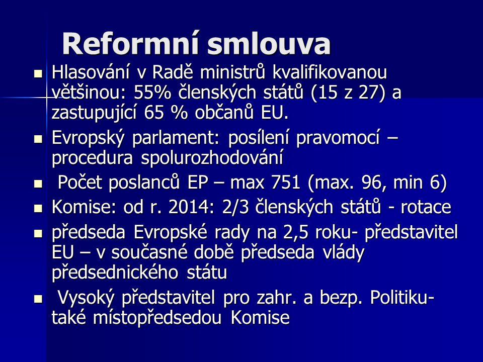 Reformní smlouva Hlasování v Radě ministrů kvalifikovanou většinou: 55% členských států (15 z 27) a zastupující 65 % občanů EU.
