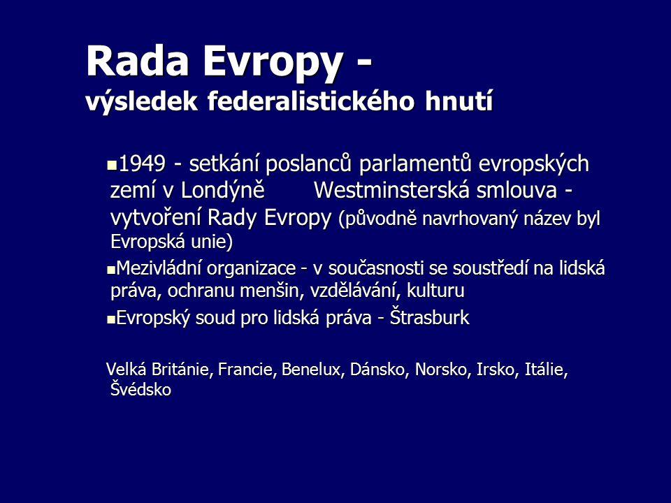 Rada Evropy - výsledek federalistického hnutí
