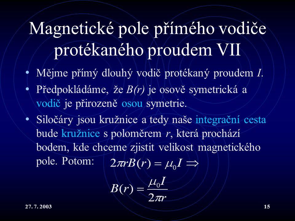 Magnetické pole přímého vodiče protékaného proudem VII