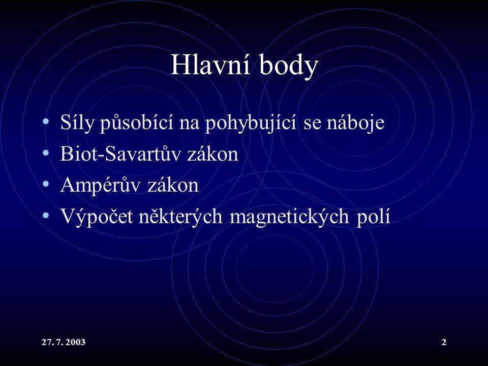 Hlavní body Síly působící na pohybující se náboje Biot-Savartův zákon