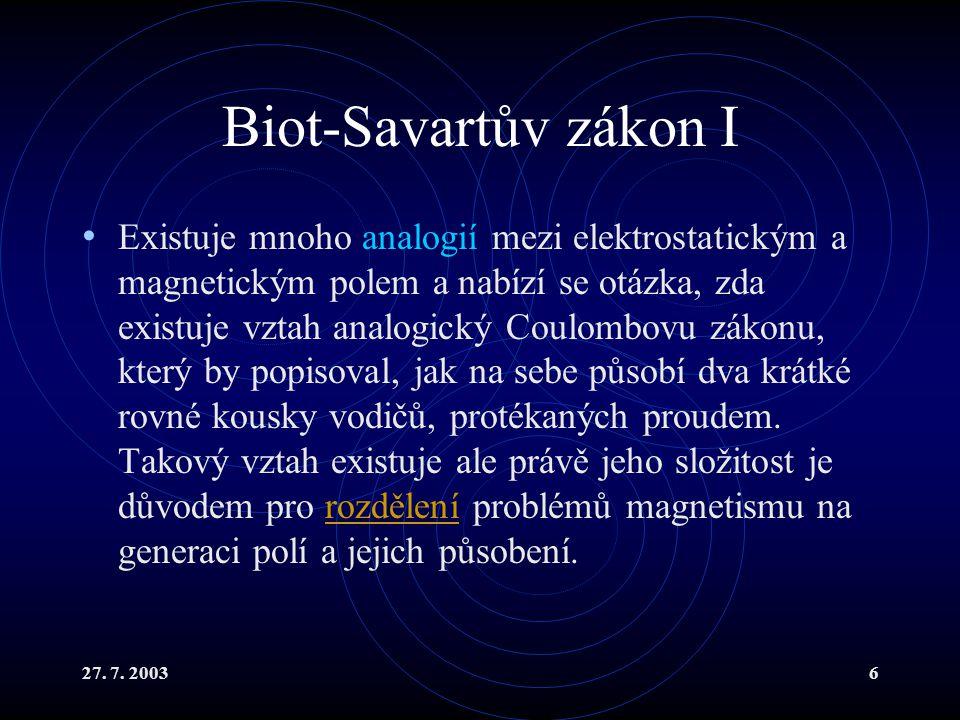 Biot-Savartův zákon I