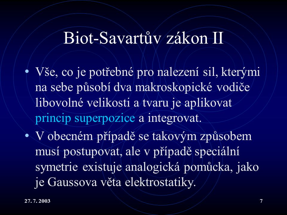 Biot-Savartův zákon II