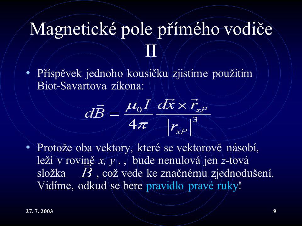 Magnetické pole přímého vodiče II
