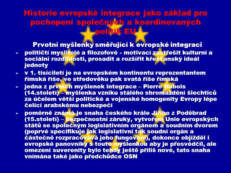 Prvotní myšlenky směřující k evropské integraci