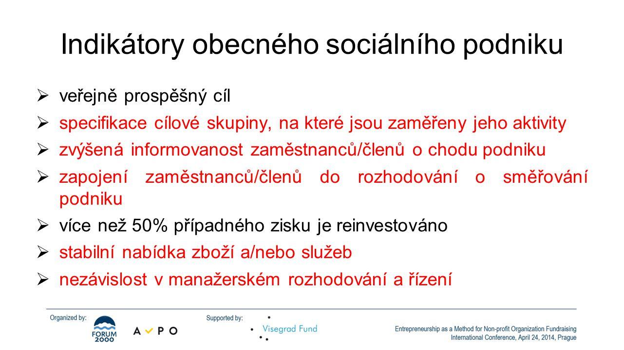 Indikátory obecného sociálního podniku