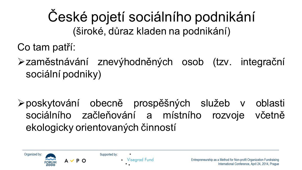 České pojetí sociálního podnikání (široké, důraz kladen na podnikání)