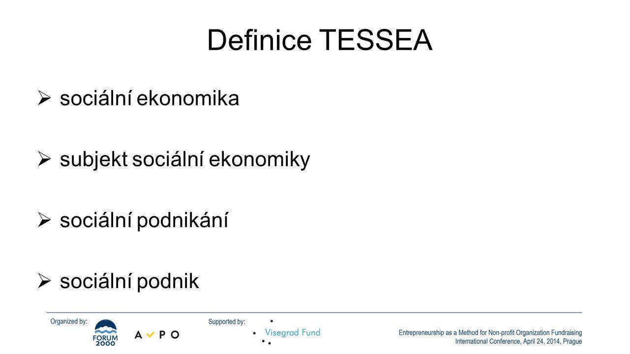Definice TESSEA sociální ekonomika subjekt sociální ekonomiky