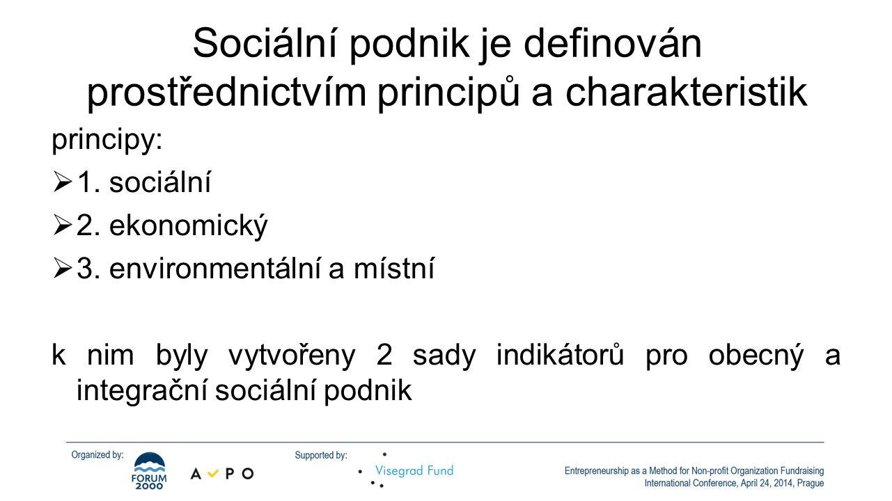 Sociální podnik je definován prostřednictvím principů a charakteristik