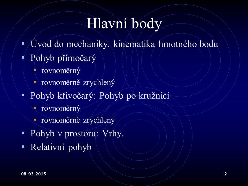 Hlavní body Úvod do mechaniky, kinematika hmotného bodu