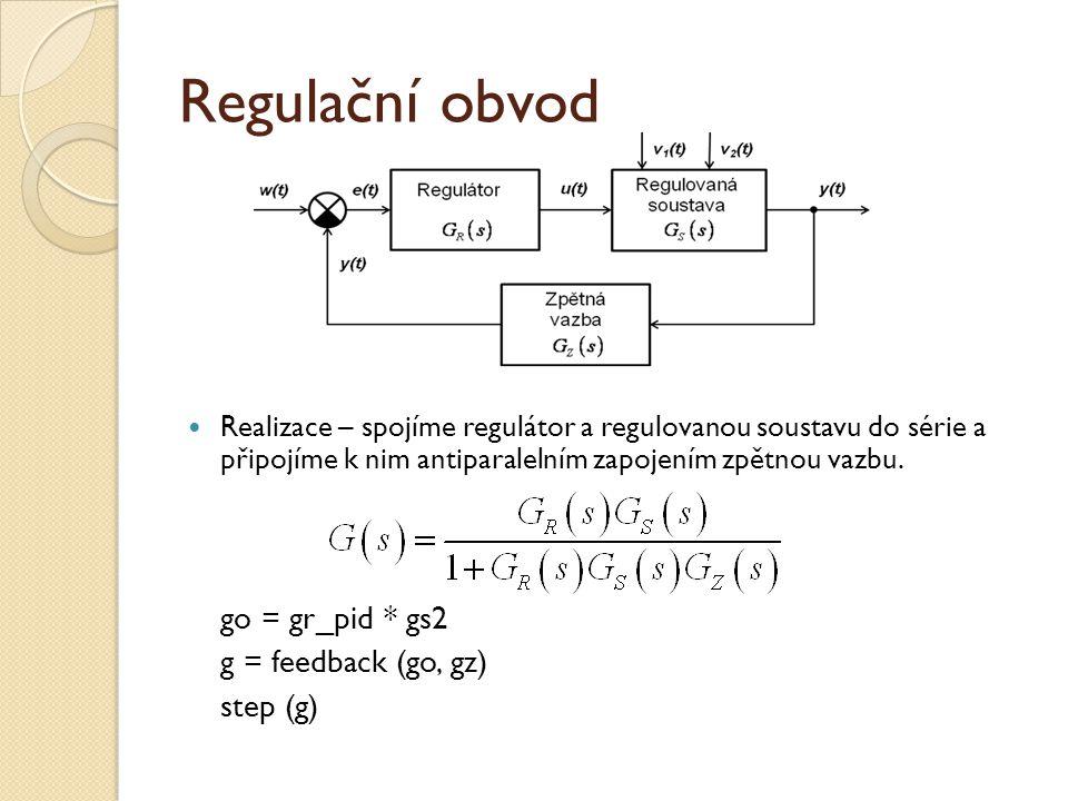 Regulační obvod go = gr_pid * gs2 g = feedback (go, gz) step (g)