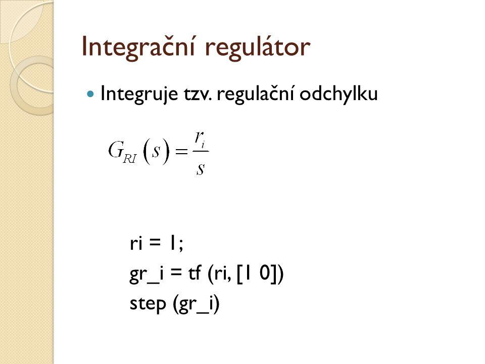 Integrační regulátor Integruje tzv. regulační odchylku ri = 1;